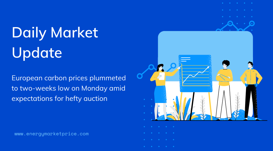 daily 08 09 2020 european carbon prices plummeted to two weeks low on monday amid expectations for hefty auction energymarketprice european carbon prices plummeted to two